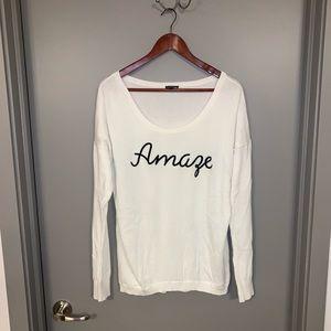 "Express NWOT ""Amaze"" L White Sweater"